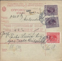 Sprovodni List (Bulletin D´expédition) DO000058 - Zagreb To Dubrovnik 1928 - Facturen & Commerciële Documenten