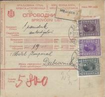 Sprovodni List (Bulletin D´expédition) DO000059 - Zagreb To Dubrovnik 1928 - Fatture & Documenti Commerciali