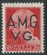 1945-47 TRIESTE AMG VG IMPERIALE 20 CENT RUOTA VARIETà PUNTO DOPO AMG MNH ** L1 - Trieste
