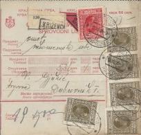 Sprovodni List (Bulletin D´expédition) DO000063 - Krizevci To Dubrovnik 1928 - Invoices & Commercial Documents