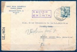 1944 , MADRID , CRUZ ROJA, CIRCULADO A BUENOS AIRES, BANDA DE CENSURA , MARCA  MADRID EXENTA Y CENSURA HELLER M 2.26 - 1931-Aujourd'hui: II. République - ....Juan Carlos I