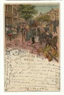 F  75 Paris - Litho H. SCH. W. Souvenir De Paris Bd Des Italiens Exp. 25.3.1897 Paris Pour Bâle - Arrondissement: 09