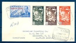 1952, GUINEA ESPAÑOLA, SOBRE CERTIFICADO  EBEBIYIN - ESTADOS UNIDOS, TRÁNSITO Y LLEGADA A ELIZABETH, RARO Y MAGNÍFICO - Guinea Española