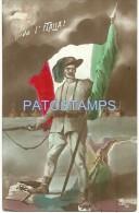 17713 ITALY PATRIOTIC COSTUMES MILITARY WITH FLAG POSTAL POSTCARD - Italia