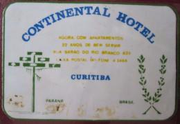 HOTEL MOTEL INN  CONTINENT TAG PARANA CURITIBA  BRAZIL BRASIL LUGGAGE LABEL ETIQUETTE KOFFER AUFKLEBER DECAL STICKER - Hotel Labels