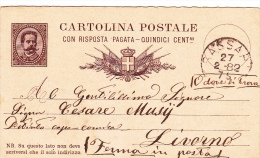 "Postkarte 1879 Filagrano C 6/- D Von ""SASSAI"" Nach Livorno, Ferma In Posta (u061) - Interi Postali"