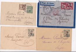 INDOCHINE FRANCAISE  4 ENTIERS POSTAUX OBLITERES - Briefe U. Dokumente