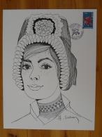 Gravure De Sainson Costume Région Auvergne Clermont Ferrand 1975 (21x27cm) - Costumes