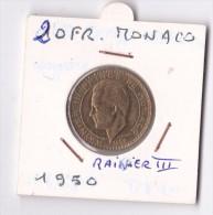 20  FRANCS  RAINIER III 1950 - Monaco