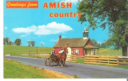 """Greetings From The Amish Country, Pennsylvania  Many One-room """"Little Red Schoolhouses"""" - United States"""