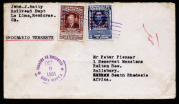 A3313) Honduras Cover From Lima 10/09/1951 To Salisbury / South Rhodesia - Honduras