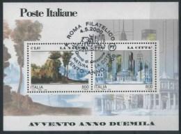 """2000 Italia, Avvento 2000 Foglietto """"la Natura - La Città"""" Con Annullo Ufficiale - 6. 1946-.. Republic"""