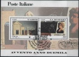 """2000 Italia, Avvento 2000 Foglietto """"l'arte - La Scienza"""" Con Annullo Ufficiale - 6. 1946-.. Republic"""