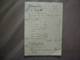 SAINS RICHAUMONT AISNE MAURICE LICOT MENUISIER EBENISTE FACTURE DU 17 JUILLET 1922 - 1900 – 1949