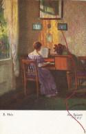 E. Holz  Am Spinett , Künstlerkarte - Ohne Zuordnung