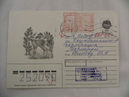 Franked Cvr Russia Russland Overprint USSR CCCP Urkaine Hirsch Deer - Postzegels
