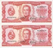 PAREJA CORRELATIVA DE URUGUAY DE 100 PESOS DEL AÑO 1967  (BANKNOTE) SIN CIRCULAR-UNCIRCULATED - Uruguay