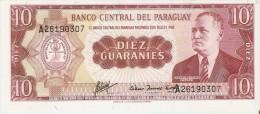 BILLETE DE PARAGUAY DE 10 GUARANIES DEL AÑO 1963 (BANK NOTE) SIN CIRCULAR-UNCIRCULATED - Paraguay