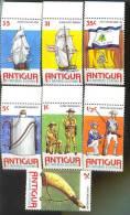 MNH ANTIGUA #423-9 : STAMPS MILITARY REGIMENT ; UNIFORMS ; US INDEPENDENCE - Antigua E Barbuda (1981-...)