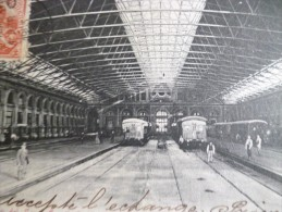 CPA Uruguay Montevideo Avec TP Ancien Et Cachet Aviation? Estacion Del Ferro Carril. Gare Train 1903 - Argentinië