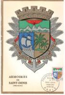 CPSM SAINT DENIS REUNION  ARMOIRIES BLASON COMPOSITION HERALDIQUE LOUIS 1 ER JOUR 1964 TIMBRE - Saint Denis