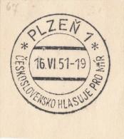 J4955 - Czechoslovakia (1951) Plzen 1: Czechoslovakia Votes For Peace - History