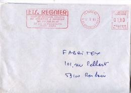 EMA Ets Regnier,materiel Medicalen Location A Domicile,rue De Romainville,paris,lettre Paris,rue De Belleville 17.3.1986 - Pharmazie