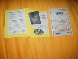 PUBLICITE ANCIENNE DE 1957. MOULIN A CAFE ELECTRIQUE ELAUL + BON DE GARANTIE N°21156. / CACHET GUERET CREUSE - Advertising