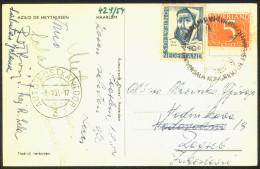Esperanto Netherlands 1954 Congress Special Postmarks On Postcard Haarlem Travelled Bb150916 - Esperanto