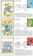 LOT 9 ENVELOPPES COUPE DU MONDE FOOTBALL 1998 LEGENDE AU VERSO PARCOURS DES BLEUS - 1961-....