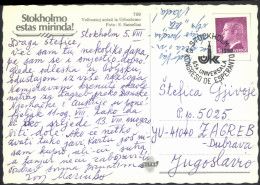 Esperanto Sweden 1980 65th Congress Special Postmarks On Postcard Stockholm Esperanto Travelled Bb150916 - Esperanto