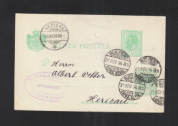 Romania Stationery Uprated 1904 To Switzerland - 1881-1918: Carol I.