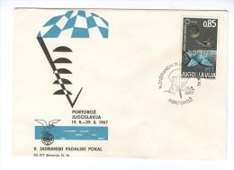 SLOVENIA  SLOVENIJA 1967 PORTOROZ COMMEMORATIVE COVER CANCEL PARACHUTTING PADALSTVO JUGOSLAVIJA YUGOSLAVIA - Slovenia