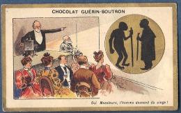 Chromo Doré Or Chocolat Guérin Boutron Homme Descend Du Singe Lanterne Magique Humour Litho Champenois - Guerin Boutron