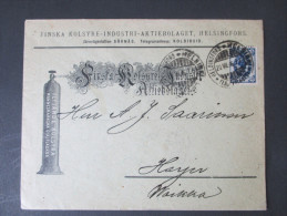 Finnland 1896 Toller Firmenbrief! Nr. 42 Als EF! Flytande Kolsyra. Aktiebolaget. Firmenzudruck. Helsingfors. - Storia Postale
