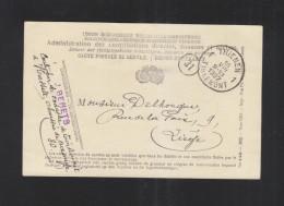 Carte Postale De Service Tirlemont 1927 Pour Liege - Poststempel