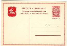 LBL32 - LITUANIE EP CP AVEC REPONSE PAYEE ILLUSTREE 35ct + 35ct NEUVE - Lithuania