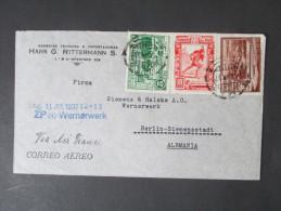 Peru 1937 Luftpostbrief. Siemens & Halske Wernerwerk. Via Air France. Hans G. Rittermann - Peru
