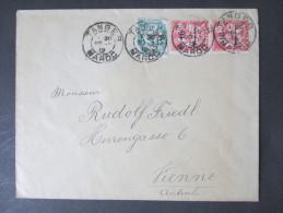 GB Kolonie Postamt In Marokko 1912 MiF Nach Wien. Tanger Maroc. Toller Beleg. Marken Mit Aufdruck - Oficinas En  Marruecos / Tanger : (...-1958