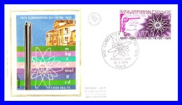 1844 (Yvert) Sur FDC Soie (GF-PJ) Paris - Convention Du Mètre Bureau International Des Poids Et Mesures - France 1975 - FDC