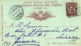 ITALIEN 1892 - Dieci Centisime Ganzsache Auf Pk Von ? Nach Geneve - 1878-00 Humbert I.