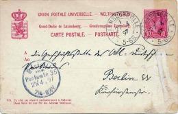LUXEMBOURG 1897 - 10 Cent Ganzsache Auf Pk Von Luxembourgville Nach Berlin, Transportspuren - Ganzsachen