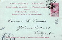 BELGIEN 1904 - 10 C Ganzsache Auf Pk Von Brüssel Nach Stuttgart - Ganzsachen