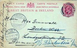 BRITAIN 1908 - 1 Penny Ganzsache Auf Pk Von Liverpool Nach Berlin