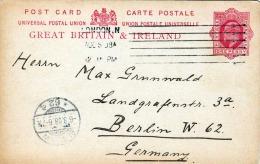 BRITAIN 1908 - 1 Penny Ganzsache Auf Pk Von London Nach Berlin