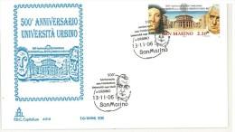 SAN MARINO  FDC - BUSTE CAPITOLIUM  - ANNO 2006 - 500° ANNIVERSARIO UNIVERSITA' DI URBINO - FDC