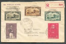 Lettre Recommandée De Bruxelles-Exposition Affranchie à 4Fr.50 Le 9-10-1935 Vers Les USA - 10817 - Belgium