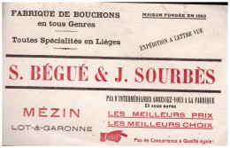 BUVARD BEGUE ET SOURBES (fabrique De Bouchons, Mezin) (B.034) - Buvards, Protège-cahiers Illustrés