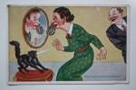 "OLD Vintage Postcard ""LOCK""   - Black Cat  - Humour - Chats"