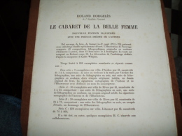 Roland D'orgelès ) SPECIMEN Du Cabaret De La Belle Femme - N° 843 Sur 1000 Exemplaire - Lithographies De Edmond Lajoux - Psychologie/Philosophie